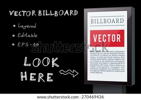 Advertising billboard for your design. Vector background - stock vector