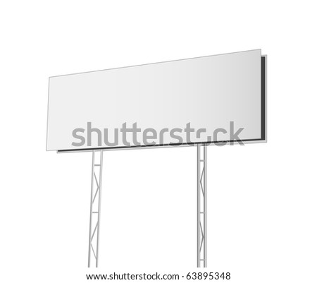 Advertising billboard isolated on white  background. Vector illustration - stock vector