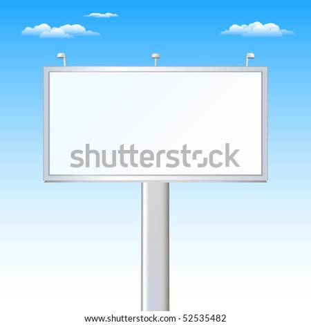 Advertising Billboard Over Sky (Your Ad Must Be Here) - stock vector