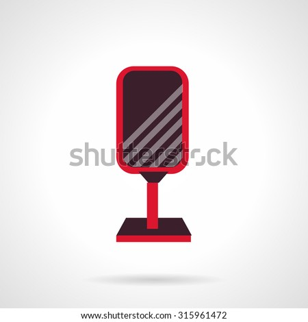 Advertising blank brown signboard with red frame flat vector icon. Outdoors advertisement samples. Elements of web design. - stock vector