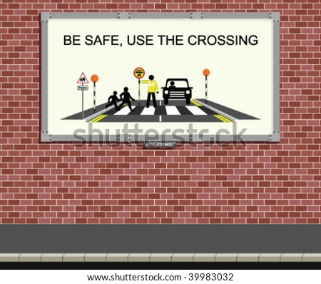Advertising board with children road safety campaign - stock vector
