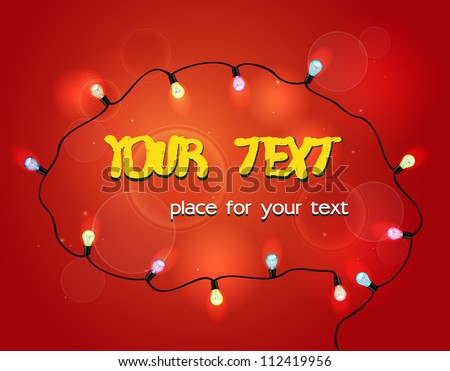 advertising card with colorful garland and place for text on the red background - stock vector