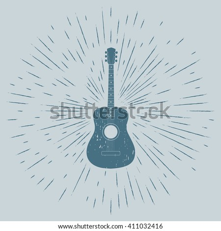 Advertising card with guitar silhouette, grunge style, vector illustration - stock vector