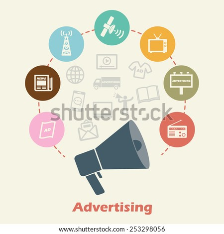 advertising concept, vector media icons - stock vector