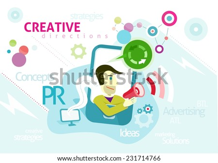 Advertising concept with words PR creative strategies ideas solution. Man looks out of smartphone is holding megaphone from which sounds advertising in cartoon design style - stock vector
