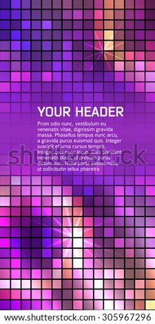 Advertising flyer party design elements. Purple background with elegant graphic mosaic bright light circles. Vector illustration EPS 10 for template brochure, layout leaflet, cafe menu card - stock vector
