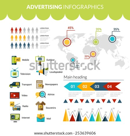 Advertising infographics set with marketing strategy symbols charts and world map vector illustration - stock vector