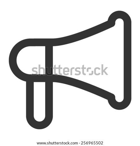 advertising loudspeaker line art icon for apps - stock vector