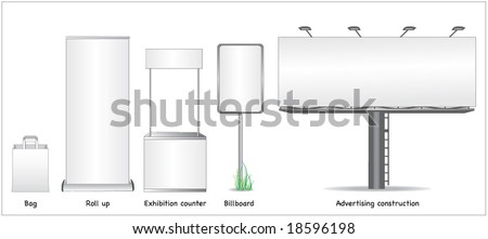 ADVERTISING SPACE MOCK UP. Roll up, sign, exaction. Vector illustration file. - stock vector