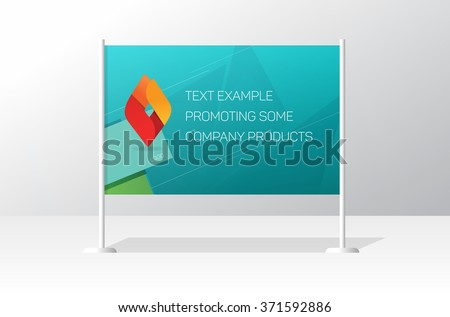 Advertising stand board banner template, sign board mockup, advertisement signboard presentation with identity brand example design, modern billboard vector illustration isolated - stock vector