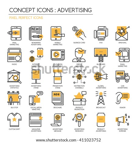ADVERTISING  , Thin Line and Pixel Perfect Icons - stock vector