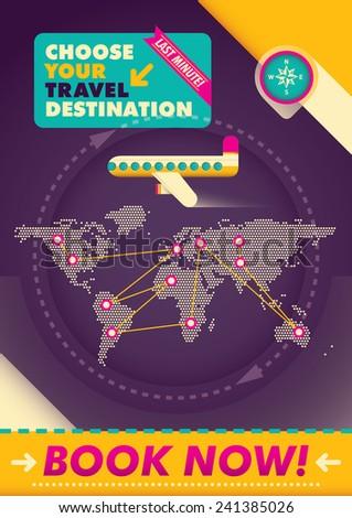Advertising travel poster design. Vector illustration. - stock vector