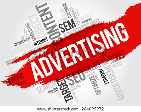 ADVERTISING word cloud, business concept - stock vector