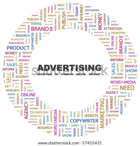 ADVERTISING. Word collage on white background. Illustration with different association terms. - stock vector