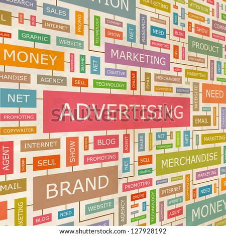 ADVERTISING. Word collage. Vector illustration.