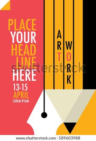Advertising Workshop Poster Design Minimalist Art Illustrations Of Pen Pencil And Paper