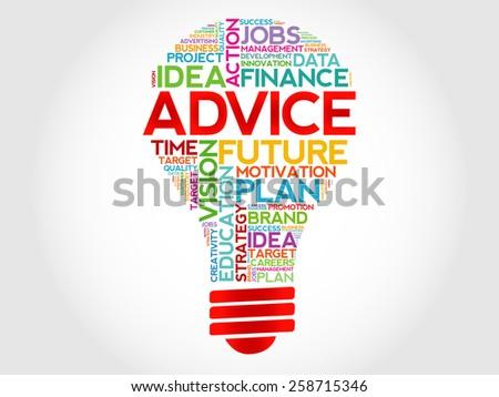 ADVICE bulb word cloud, business concept - stock vector