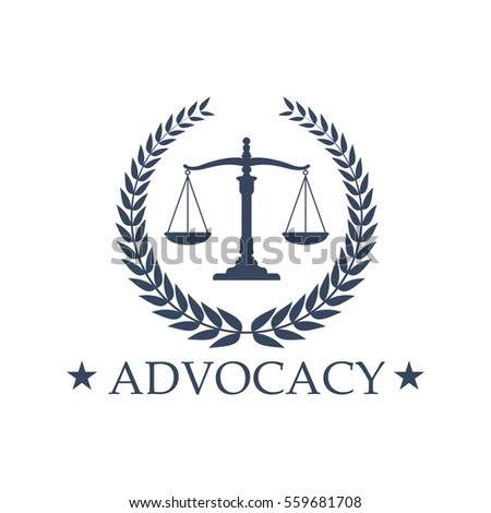 Advocacy Emblem Symbol Scales Justice Juridical Stock Vector
