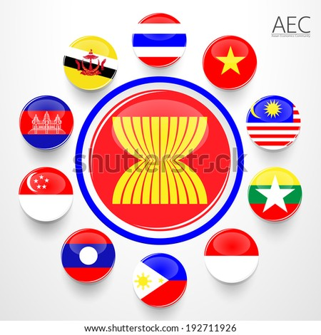 AEC, Asean Economic Community flag symbols. Vector illustration