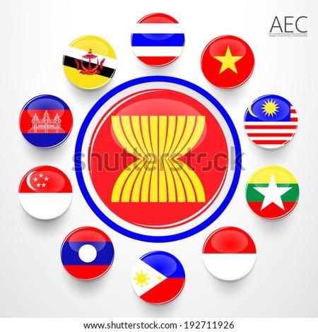 AEC, Asean Economic Community flag symbols. Vector illustration - stock vector