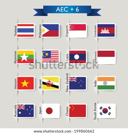 AEC + 6 : the abstract national flags of group AEC, ASEAN Economic Community and six other nations  - stock vector