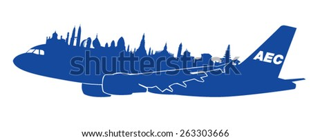 AEC with airplane vector - stock vector