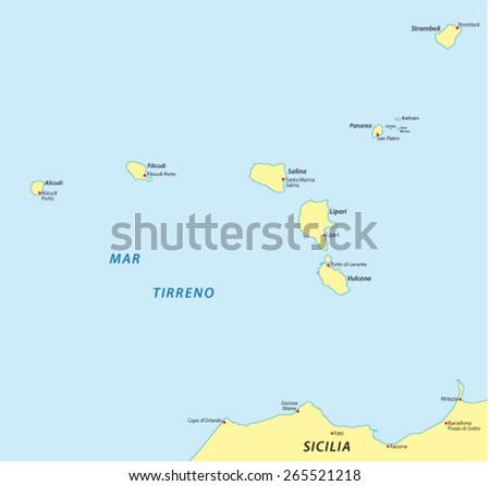Aeolian Islands Map Stock Vector 265521218 Shutterstock