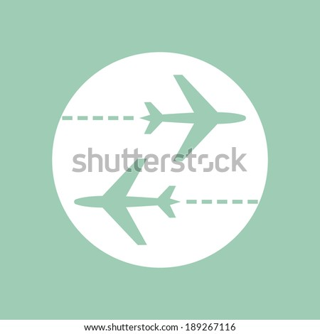 Aerial airplane transport vector icon - stock vector