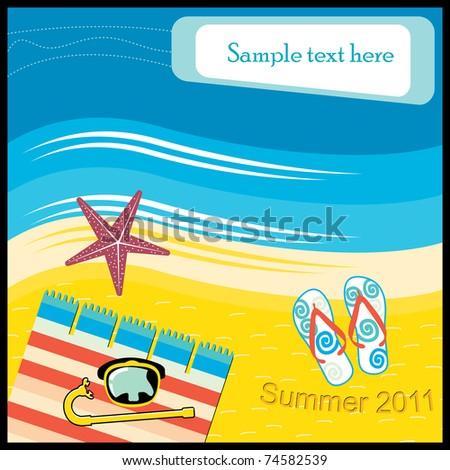 Aerial Beach Scene - stock vector