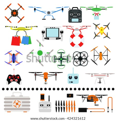 Aerial drone quadrocopters icons and emblems isolated on white. Vector illustration drone helicopter toy packing design. Flight controlled security quadrocopters drone helicopter toy. - stock vector