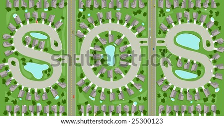 """Aerial view of neighborhood streets that spells out """"SOS"""" - stock vector"""