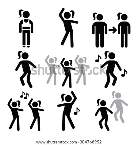 Aerobics, fitness workout or dance icons set  - stock vector
