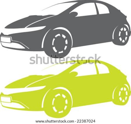 Aerodynamic Car Design Single color - stock vector