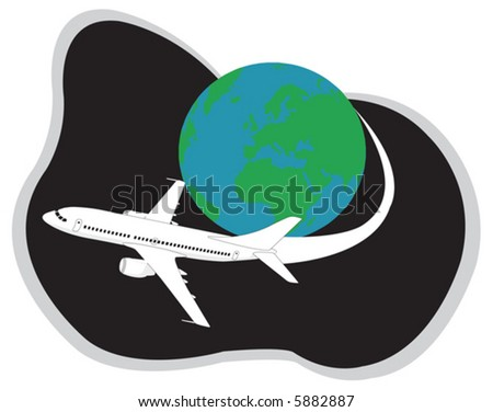 Aeroplane traveling around the globe. Vector illustration - stock vector