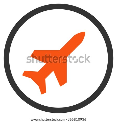 Aeroplane vector icon. Style is bicolor flat circled symbol, orange and gray colors, rounded angles, white background.