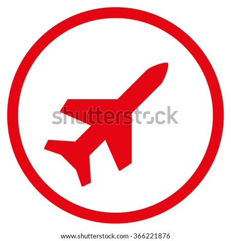 Aeroplane vector icon. Style is flat circled symbol, red color, rounded angles, white background.