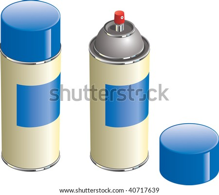 Aerosol paint can with lid removed to show nozzle - stock vector