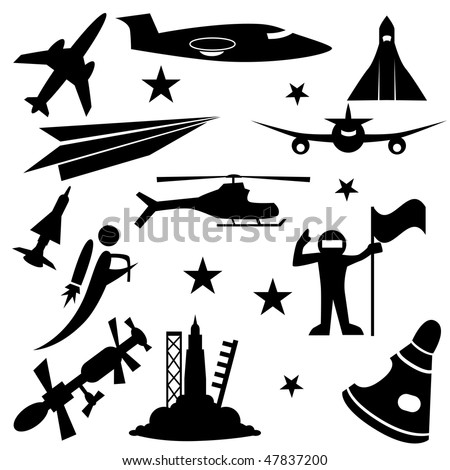 Aerospace icon set isolated on a white background. - stock vector