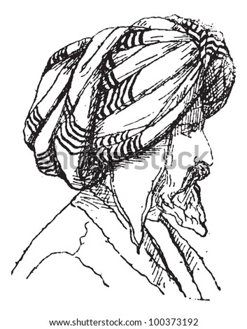 Afghan Turban, vintage engraved illustration. Dictionary of Words and Things - Larive and Fleury - 1895