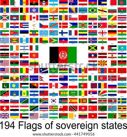 Afghanistan, collection of vector images of flags of the world