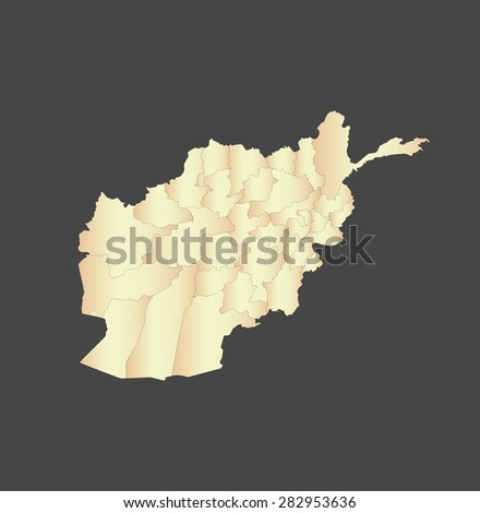 Afghanistan map vector, Afghanistan map outlines in a new contrasted design with a gradient of light color and a grey background - stock vector