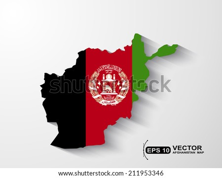 Afghanistan map with shadow effect - stock vector