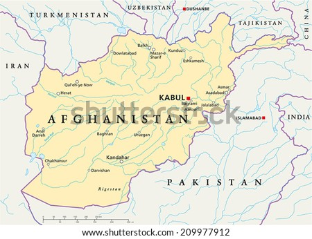Afghanistan Political Map Capital Kabul National Stock Vector 2018
