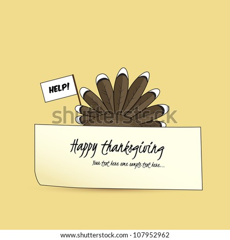 Afraid turkey hiding behind a paper holding a while flag - stock vector