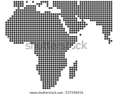 Africa and Middle East dotted map template vector - stock vector
