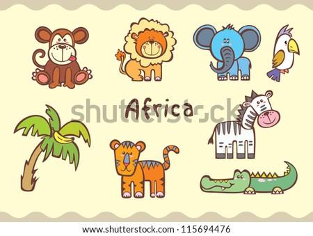 africa, animals cartoon - stock vector