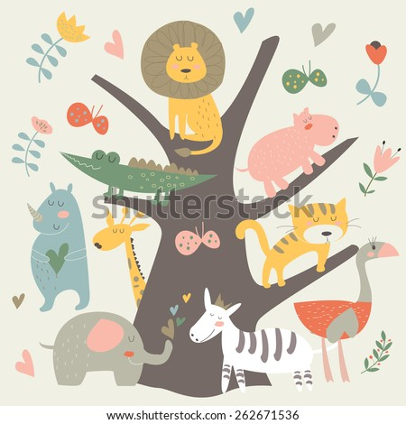 Africa animals sitting on a tree. Cute alligator, tiger, lion, elephant, rhino, hippo, ostrich and zebra in cartoon style. - stock vector