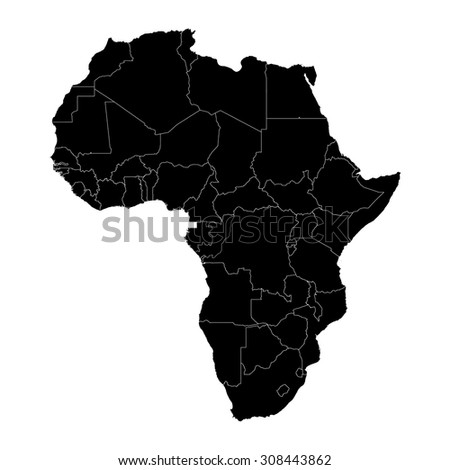 Africa black silhouette map with country borders - stock vector