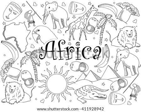 Africa coloring book line art design vector illustration. Separate objects. Hand drawn doodle design elements.