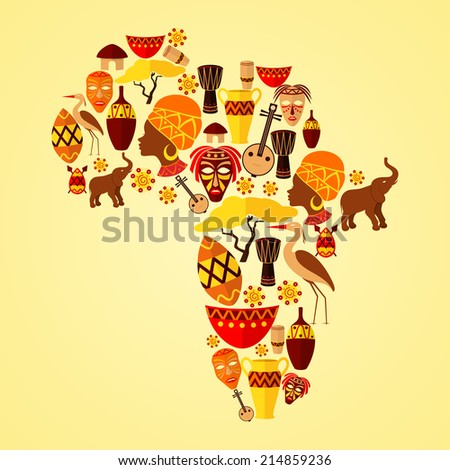 Africa continent jungle ethnic tribe travel concept vector illustration - stock vector